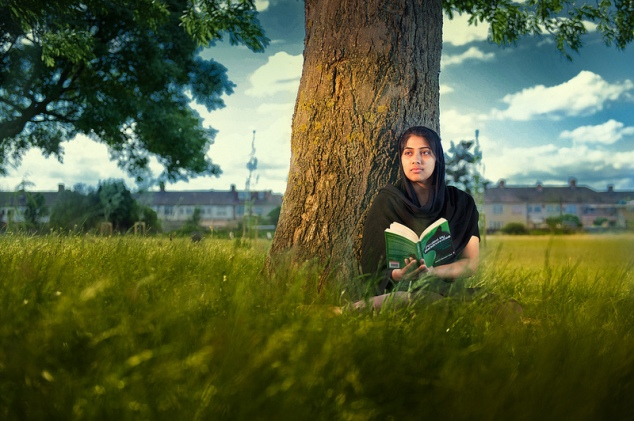 girl with a book landscape